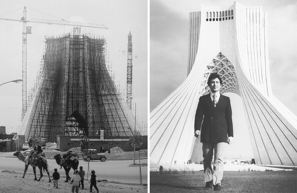 A photo of the construction stages and architect of the Azadi Tower